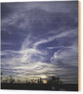 Wispy white clouds against deep blue sky at sunset in central Te Wood Print