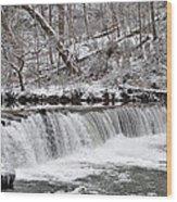 Wissahickon Waterfall In Winter Wood Print