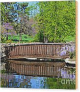 Wisteria In Bloom At Loose Park Bridge Wood Print