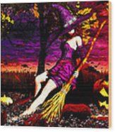 Witch In The Pumpkin Patch Wood Print