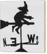 Witch On A Broomstick Wood Print