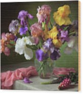 With A Bouquet Of Irises And Flowers Lupine Wood Print