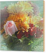 With Love Flower Bouquet Wood Print