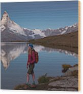 With The Matterhorn In The Background Wood Print