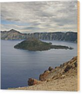 Wizard Island - Crater Lake Oregon Wood Print by Christine Till