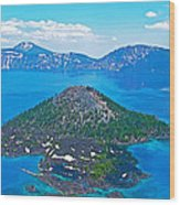 Wizard Island From Watchman Overlook In Crater Lake National Park-oregon  Wood Print