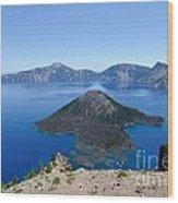 Wizard Island Crater Lake Oregon Usa Wood Print