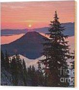 Wizzard Island Sunrise 4 Wood Print