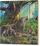 Wolf And Cubs In The Woods Wood Print