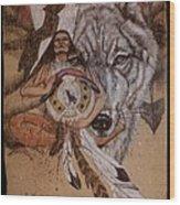 Wolf And Shaman  Wood Print