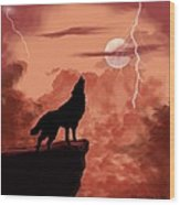 Wolf Howling In The Night Wood Print