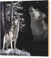 Wolf  Howling Memory Wood Print