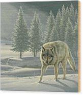 Wolf In Fog    Wood Print