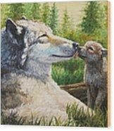 Wolf Painting - Spring Kisses Wood Print
