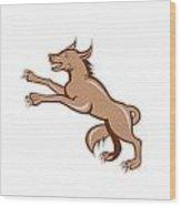 Wolf Wild Dog On Hind Legs Cartoon Wood Print