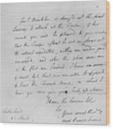 Wolfe Letter, 1759 Wood Print
