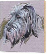 Wolfhound Portrait Wood Print