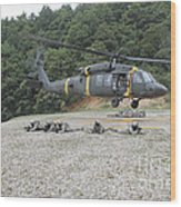 Wolfhounds Air Assault From A Uh-60 Wood Print