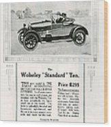 Wolseley 1923 1920s Usa Cc Cars Wood Print