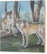 Wolves In The Forest Wood Print