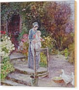 Woman And Child In A Cottage Garden Wood Print