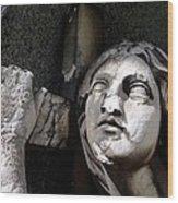 Woman And Cross Wood Print