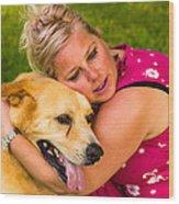 Woman And Dog. Wood Print