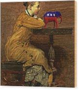 Woman And Elephant Wood Print