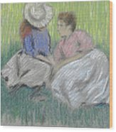 Woman And Girl On The Grass Wood Print