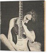 Woman And Guitar Wood Print