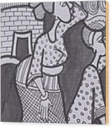 Woman And Her Son Are Coming From Farm Wood Print