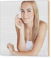 Woman Apply Anti Wrinkle Cream  Wood Print