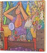 Woman At Dressing Table Wood Print by Chaline Ouellet