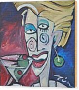 Woman At Martini Bar Wood Print