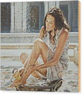 Woman Bathing 2013 Wood Print