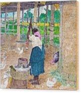 Woman Beating Cassava Jamaica Wood Print