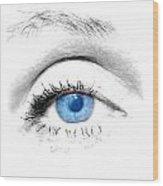 Woman Blue Eye Wood Print by Michal Bednarek