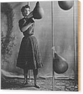 Woman Boxing Workout Wood Print by Underwood Archives