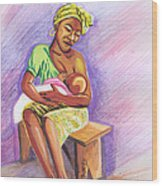 Woman Breastfeeding Bay In Rwanda Wood Print