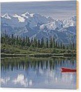Woman Canoeing In Wonder Lake Alaska Wood Print