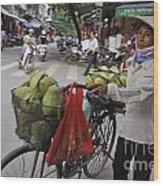 Woman Carrying Fruit On Bike Wood Print