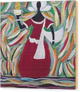 Woman Carrying Pineapple  Wood Print