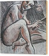 Woman Combing Her Hair - Nudes Wood Print