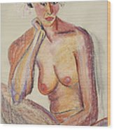 Woman Contemplating With Flowers In Her Hair Wood Print