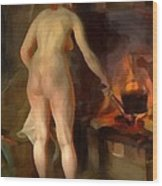 Woman Cooking Over An Open Fire Wood Print