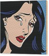 Woman Crying Wood Print