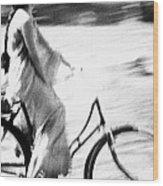 Woman Cycling Wood Print