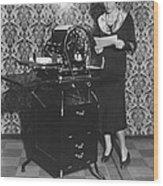 Woman Demonstrates Duplicator Wood Print