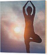 Woman Doing Yoga Tree Pose Wood Print