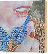 Woman Eating Marshmallow- Oil Portrait Wood Print